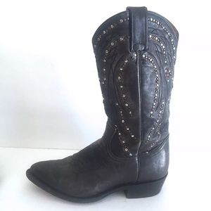 Frye Billy Silver stud Cowboy Boots Dark Gray 8